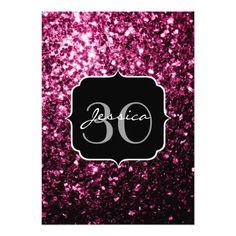 Beautiful Pink glitter sparkles Monogram Personalized Invitation by #PLdesign #PinkSparkles #SparklesInvite