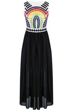 Vestido gasa plisado bordado-negro