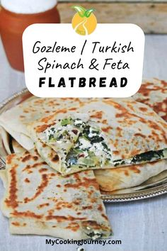 Gozleme is a Turkish special flatbread with different kinds of filling. This is one of my favorite with spinach and Feta cheese. This is a wonderful flatbread that is crusty outside with soft and chewy inside filled with delicious filling. #flatbread #gozleme #turkishflatbread #feta #spinach #gozleme @mycookinjourney | mycookingjourney.com Beef Recipes, Vegetarian Recipes, Cooking Recipes, Yummy Recipes, Recipies, Brunch Recipes, Easy Dinner Recipes, Breakfast Recipes, Turkish Recipes