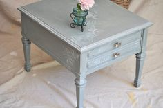 Vintage End Table in Soft Opalescent W/Silver by TheVelvetBranch, $162.00