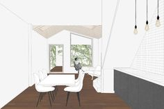 Verbouwing en uitbreiding van een rijwoning / extension and renovation of a small city house - interieur - multiplex - zichtbare balken