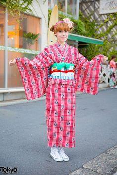 Crown Print Kimono & Floral Obi From Tokyo Kawaii Musee in Harajuku (Tokyo Fashion, 2015)