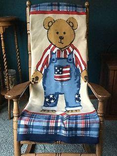AMERICANA Patriotic Bear Fleece Throw 50X60 NEW