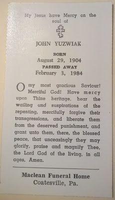 Genealogical Gems: Funeral Card Friday: John Yuzwiak