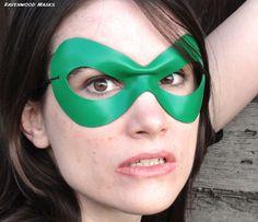 Superhero mask green leather Supermask II by RavenwoodMasks, $38.00