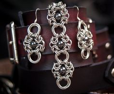 Romanov Earrings in Silver and Hematite. $23.00, via Etsy.