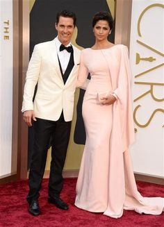 Matthew McConaughey and Camila Alves attend the 86th annual Academy Awards at the Dolby Theatre in Hollywood on March 2, 2014.