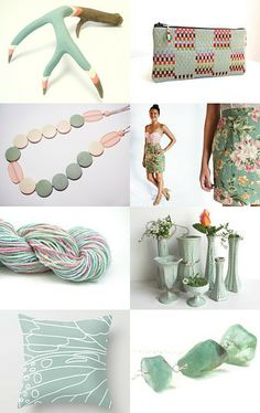 Sage Green and Pink Cream by AngelaDesign on Etsy--Pinned with TreasuryPin.com