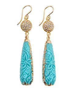 Carved Turquoise & Hematite Crystal Drop Earrings by Devon Leigh at Neiman Marcus Last Call.