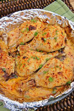 Buttermilk Roast Chicken Recipe. 2c buttermilk, 5 garlic cloves, 1T salt, 1T granulated sugar, 1 1/2t paprika, blk pepper, 2 1/2-3lb chicken, drizzle olive oil. Combine all & marinate 2-24 hours. Roast at 425 for 30-45 min