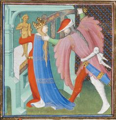 Red bycocket with white lining  Paris, France 1410