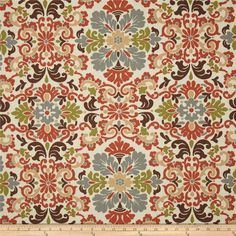 Waverly Folk Damask Terracotta from @fabricdotcom  Screen printed on (approx. 6.5 ounce) cotton duck, this versatile, medium weight fabric is perfect for window accents (draperies, valances, curtains and swags), accent pillows, bed skirts, duvet covers, slipcovers, upholstery and other home decor accents. Create handbags, tote bags, aprons and more. Colors include rust, olive, brown, peachy tan, grey and cream.