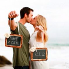 Cute save the date picture idea! could do it with the tulips fields behind