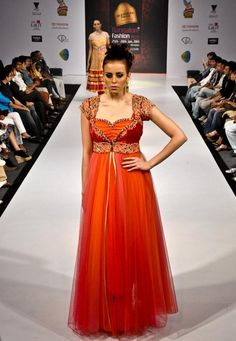 orange red and peach anarkali