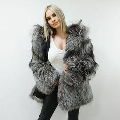 Luxury Silver Fox Fur Jacket With Hood   Etsy Fox Fur Jacket, Fox Fur Coat, Hooded Jacket, Fluffy Sandals, White Fur, Fur Fashion, Fur Collars, I Dress, Etsy