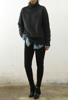 ankle boots, black jeans, denim oversized shit, grey marle loose knit