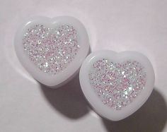 Alice In Iridescent Land Sparkle Heart plugs embedded resin filled - Made to Order 0,00,1/2,9/16,5/8,11/16,3/4,7/8,1' on Etsy, $15.00