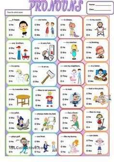 A simple grammar worksheet about the use of subjective pronouns.It is easy and simple for young learners or struggling students . It can be given at the end of your lesson as a wrap up. English Worksheets For Kids, English Lessons For Kids, Kids English, English Activities, Learn English, English Words, Teaching Pronouns, Pronoun Activities, Pronoun Worksheets