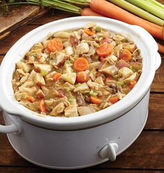 Classic Chicken Stew - Our exclusive recipe of fully cooked chicken, roasted red potatoes, carrots and celery in a homestyle gravy.