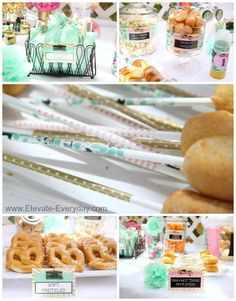 Mint, Gold, Pink, Black and White Vintage Circus First Birthday from @elevateeveryday.  Mini Corn dogs on washi tape covered sucker sticks.