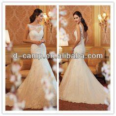 Bateau neckline lace a-line wedding dress with low cut back