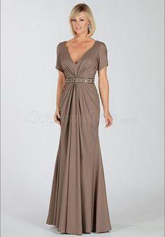 Brown Elastic Silk-like Satin Fit-N-Flare V-neck beaded Mother of the Bride Dress - Gopromdress.co.uk