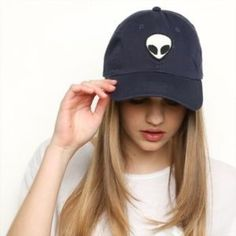 NWOT Navy Brandy Alien Hat New without tags, never worn. Navy blue brandy Melville alien patch hat  Brandy Melville Accessories Hats