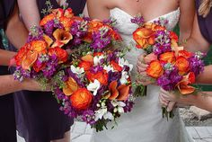 Brilliant purple, coral and orange flowers but more purple than orange