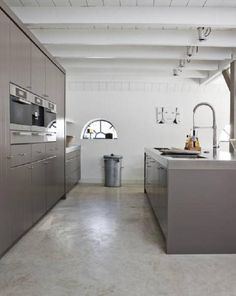 Flooring Polished Concrete Home.Secura Polished Concrete Vinyl Flooring For A Small Office . Eco Friendly Concrete Floor Coatings From AAA Sexy Floors. Concrete Kitchen Floor, Polished Concrete Flooring, Kitchen Flooring, Polished Cement, Concrete Bathroom, Taupe Kitchen, New Kitchen, Kitchen Tops, Kitchen Colors