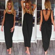 harupink Women Sleeveless Backless Long Maxi Dress Fashion Casual Loose  Solid Sexy Beach Dresses Plus Size Vestidos 2017 6d9c697177