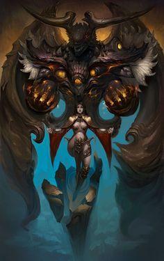 арт девушка,красивые картинки,art,арт,Fantasy,Fantasy art,демон,黑桃 杰克