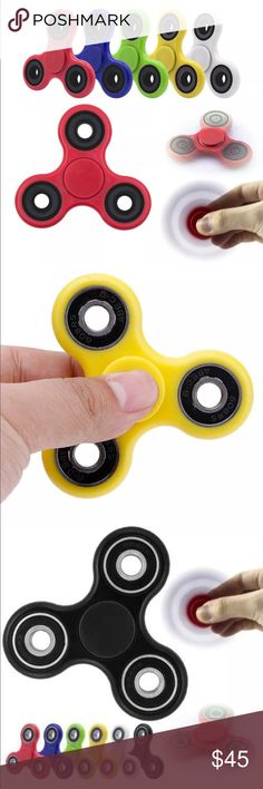 NIB Fidget Spinners (5 for $45) The Fidget Spinner is an addictive desk toy that allows you to focus at the task at hand without disrupting others. This product is made with high quality steel bearings for maximum durability so you can fidget all you want. Specifications: * Radius:40mm * Depth:13mm * Material: ABS + metal Specify Color: Red, Green, Yellow, Blue, Black & White Other