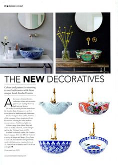 A wonderful feature on hand-decorated basins from the London Basin Company. A wonderful feature on hand-decorated basins from the London Basin Company. Bathroom Sink Design, Bathroom Fixtures, Bathroom Interior, Dream Bathrooms, Beautiful Bathrooms, Bathroom Inspiration, Interior Inspiration, Basin, Living Room Decor