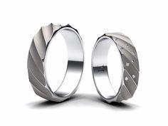Nové snubní prsteny z bíleho zlata, v dámském prstenu jsou zafasovány diamanty…