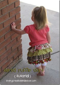 tiered Ruffle Skirt Tutorial. Love this. Have been looking for this and thinking of this idea for awhile. Have seen lots of these skirts out in the dept. stores for sale. I knew I could make them cheaper and cuter! Cant wait to try this one.