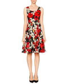 B31UZ Dolce & Gabbana Poppy & Daisy Fit-&-Flare Dress, Red/White/Yellow