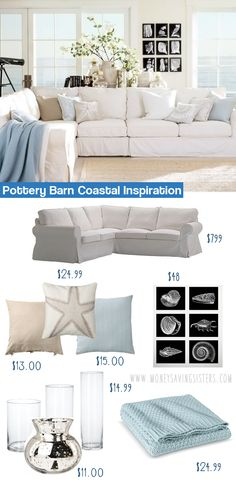 Create this coastal Pottery Barn living room for under $1000 including the sectional! This site has all sorts of great home decor knockoffs!