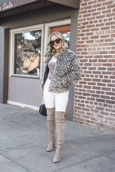 c49a7af03aa Faux Fur bomber jacket look featured by top US fashion blog