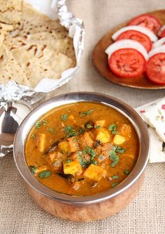 Dum Paneer & Rumali Roti - succulent Indian cheese cubes cooked in a luscious curry sauce made with slow cooked onions, tomatoes, cashews and whole spices