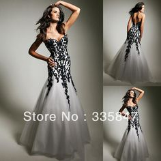 Lastest sweetheart neckline lower zipper back organza and lace trumpet black and white wedding dress 2013 US $149.00