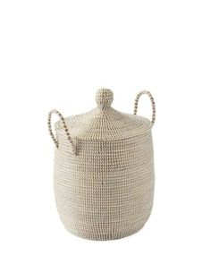 These lidded baskets give storage a beachy spin, with strips of recycled plastic wrapped around coils of neutral seagrass. Use it to store everything from toys to craft supplies, linens to laundry. La Jolla, Spring Home Decor, Fall Decor, French Provincial, Kitchen Chairs, Faux Flowers, White Paints, Straw Bag, Wicker