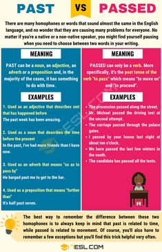 Passed vs Past: How to Use Past vs Passed Correctly? Good Grammar, Teaching English Grammar, English Writing Skills, Spelling And Grammar, English Language Learning, Teaching Writing, English Vocabulary, Writing Tips, Language Arts