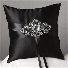 Ring Bearer Pillow - elegant & dramatic in black satin & crystal. Wedding Ring Cushion, Wedding Pillows, Cushion Ring, Ring Bearer Pillows, Ring Pillows, Watercolor Quilt, Lace Ring, Idee Diy, Love Sewing