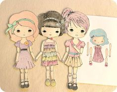 To download these dolls, please click each name.   ☀CQ #paper #printables #digitals #templates #crafts #how-to #DIY