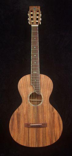 Solid Acacia Koa Acoustic Slotted Head Parlor Guitar Abalone Inlay