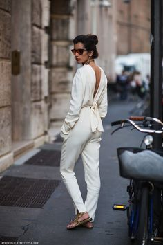 2015 White Jumpsuits For Women Street Style Trends Look Casual, Look Chic, Casual Chic, Fashion Moda, Look Fashion, Womens Fashion, Fashion Trends, Street Fashion, Girl Fashion