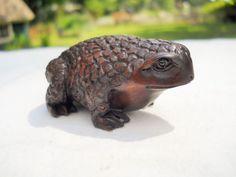 Vintage Wooden Toad Frog Netsuke by UncleJimmysAttic on Etsy