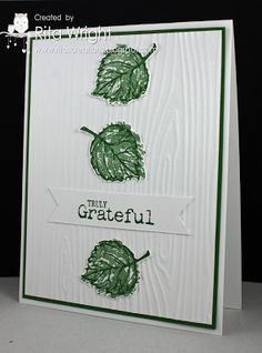 Stamps:  Gently Falling, Truly Grateful Ink/Paper: Garden Green Tools:  Big Shot, Woodgrain embossing folder