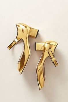 gold mary jane pumps