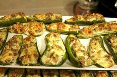 Jalapeño filled with sausage and chihuahua cheese. Good to wrap with bacon. Baked at 425 for 20 mnts